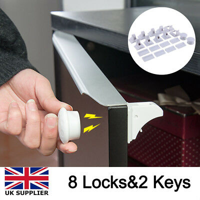 Invisible Magnetic Baby Child Pet Proof Cupboard Door Drawer Safety Lock Set UK