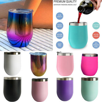 Stainless Steel Stemless Wine Glasses 12oz Insulated Metal Tumbler Cups 6Colors