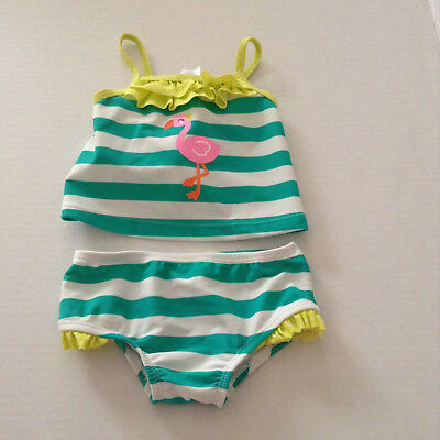 Carters 2 pc Swimsuit Infant Girls 3-6 Mths Green White Pelican NEW