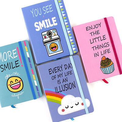 """More Smile"" 1pc Cute Hard Cover Diary Notebook Lined Freenote Study Journal"