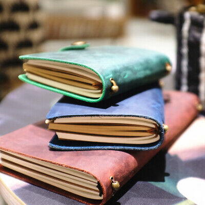 """Joyful Idea"" 1pc Genuine Cowhide Leather Business Travel Journal Notebook Diary"