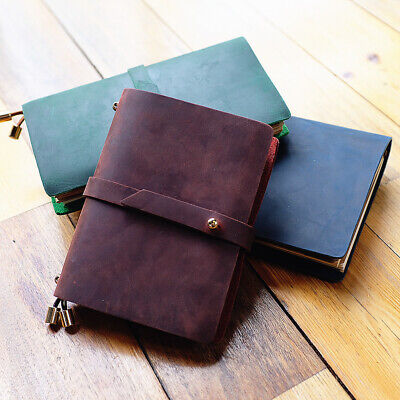"""Joyful Spirit"" 1pc Real Cowhide Leather Travel Journal Business Notebook Diary"