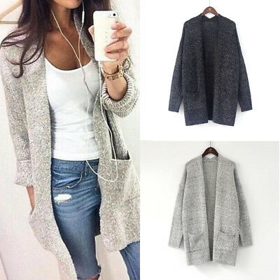 Women Winter Baggy Cardigan Coat Long Chunky Knitted Oversized Sweater Jumper