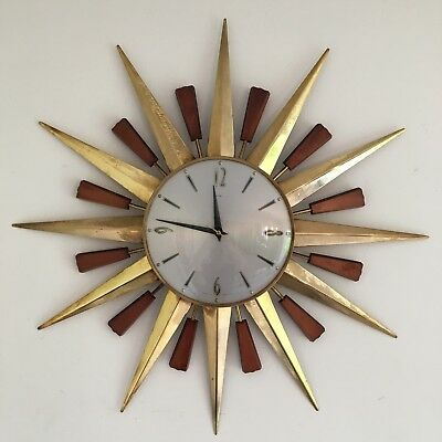 Large Vintage Mid Century Metamec Sunburst Starburst Wall Clock 60cm/2ft Span