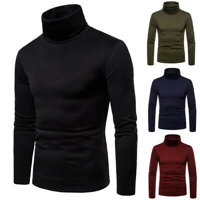 US Mens Thermal Cotton Turtle Neck Skivvy Turtleneck Sweaters Stretch Shirt Tops