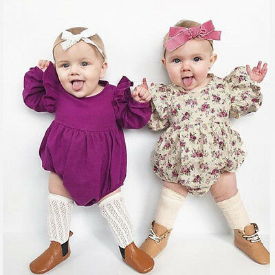 Newborn Infant Baby Girls Floral Print Ruffles Romper Bodysuit Outfits Clothes