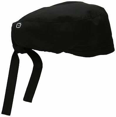 Wonderwork Unisex Scrub Cap Hat Black Surgical One Size Back Tie Closure Black