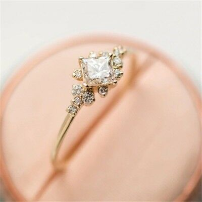 14K Gold Rose Gold Plated Alloy Tiny Baguette Diamond Ring