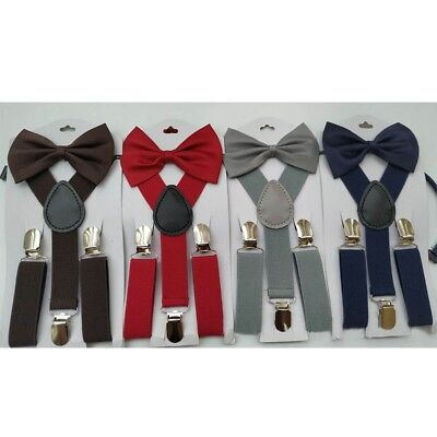 New Braces Suspender and Bow Tie Set for Baby Toddler Kids Boys Girls Children