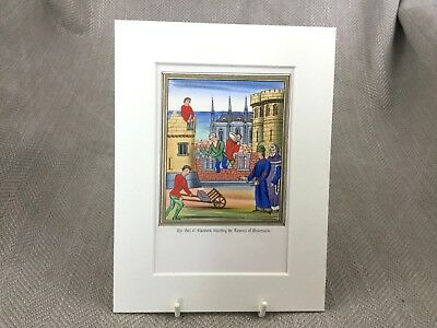 Earl of Flanders Antique Hand colored Print Froissart Illuminated Art Oudenarde