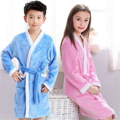 One Piece Boys Girls Super Soft Flannel Bathrobe Dressing Gown Robe Nightwear