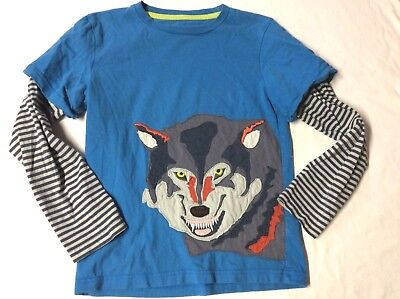 Mini Boden Boys  9 10 WOLF  BIG APPLIQUE 2 IN 1 LOOK LAYERED L/S SHIRT TOP