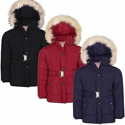 Girls Jacket Padded Cuffs Belted Winter Hood Coat Zip Snap Fastening 5-14 Years