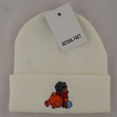 2f5b54bbced Actual Fact MF Doom Mask x Pooh Embroidered Hip Hop Roll Up White Beanie Hat
