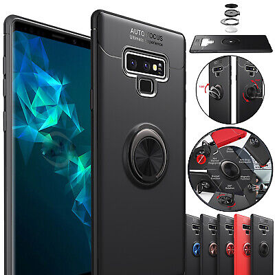 For Samsung Note 9 S8 S9+ Case Magnetic Car Holder Ring Stand Tough Back Cover