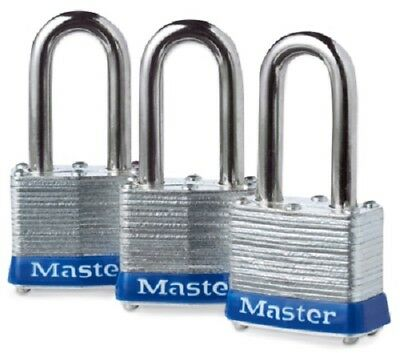 "Master Lock, 3 Pack, 1-9/16"", Laminated Padlock, Long Shackle"