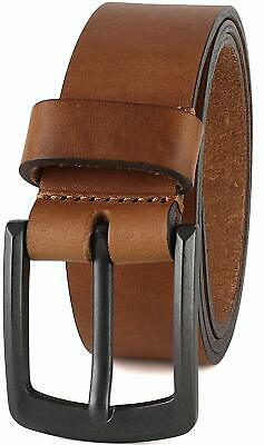 """Men's Casual Full Grain Classic Leather Dress Belt For Jeans,1.5"""" Wide, USA"""