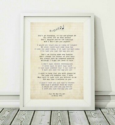 538 Billy Joel - Just The Way You Are - Song Lyric Poster Print - Sizes A4 A3