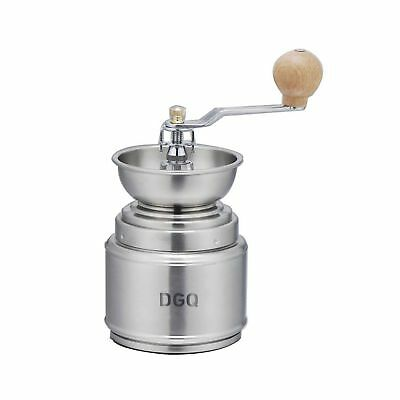 """DGQ Brushed Stainless Steel Manual Coffee Grinder with Conical Burr Mill(6.3""""..."""