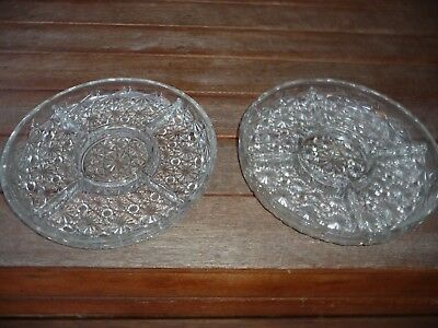 2 glass vintage plater plates