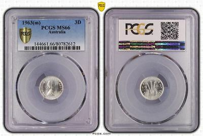 1963(m) Australia Threepence PCGS MS66 *Exceptional uncirculated with lustre.*