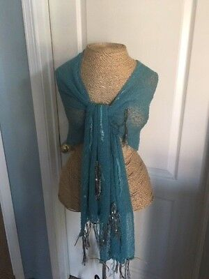 Van Klee Turquoise woven scarf/shawl with metallic,ribbon, suede accents
