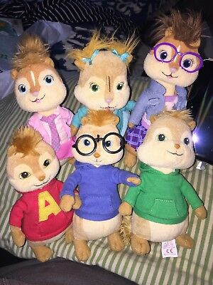 """RARE Full Set Of Alvin and The Chipmunks & The Chipettes TY Beanies 6"""" Soft Toys"""