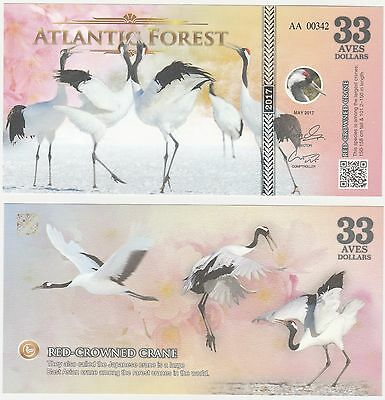 Atlantic Forest 33 Aves Dollars 2017 NEW Fantasy Banknote - Red Crowned Crane
