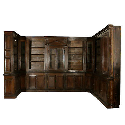 Bookcase/Wainscoting Walnut Manufactured in Italy Last Quarter of 1700