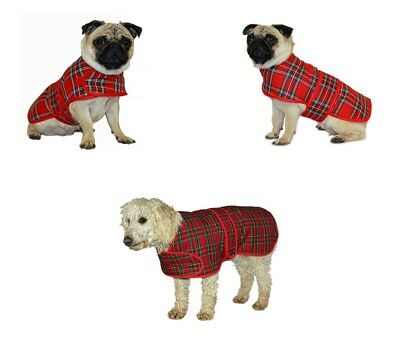 Red Tartan Check Highland Warm Dog Coat Jacket Easy Fasten