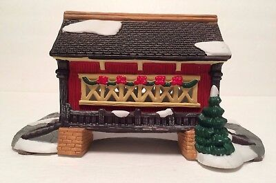 St Nicholas Square Red Covered Bridge 1997 Village Collection Porcelain Holiday