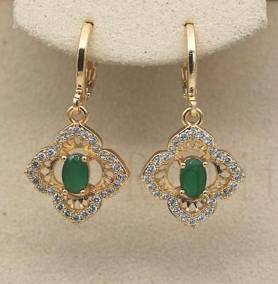 18K Gold Filled - 1.2'' Flower Emerald Hollow Zircon Jade Wedding Lady Earrings