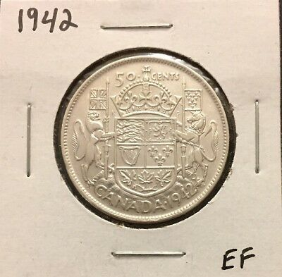 1942 - Fifty Cent Silver Coin - Canada