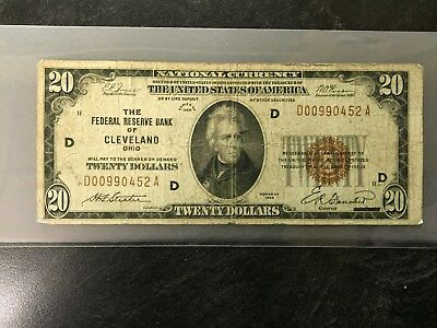 1929 $20 United States Federal Reserve Bank Cleveland Ohio National Currency