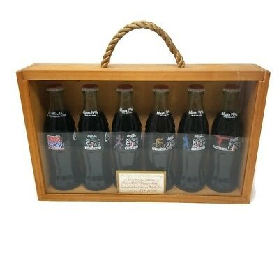 Rare 1996 #367 of 1,996 Coca Cola Olympic City Bottle Set ATL in Wooden Display