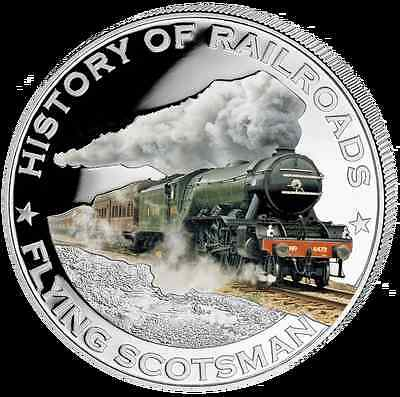 Liberia 2011 $5 History of Railroads - Flying Scotsman Proof Silver Coin