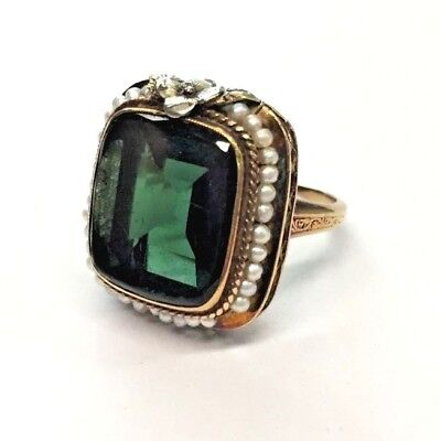 Antique/Vintage 14K Solid Yellow Gold Green Gemstone & Pearl Seed Ring size 4.75
