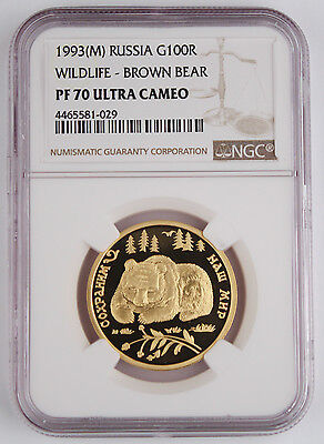 Russia 1993 1/2 Oz Gold 100 Rouble Wildlife Brown Bear Proof Coin NGC PF70 POP5
