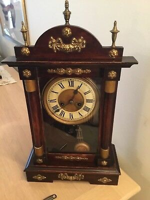 A Fine Early Wood & Brass Chiming Mantel Clock Working With Key & Pendulum