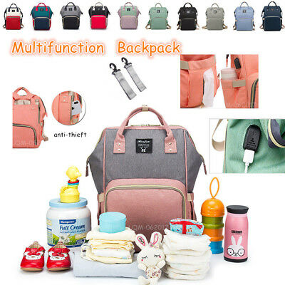 USB Mammy Baby Diaper Nappy Large Capacity Changing Bag External Travel Backpack