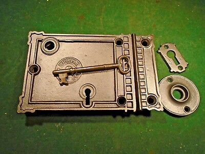 Vinitage Complete Whipple Rim Lock:  Circa 1880 & Beautiful (9991)