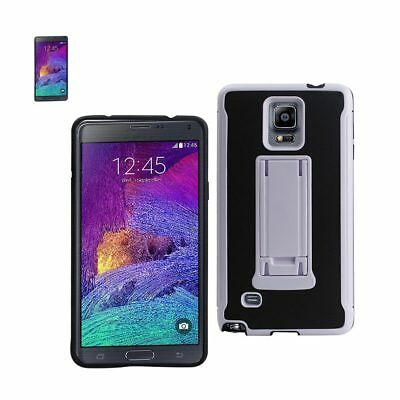Samsung Galaxy Note 4 Hybrid Heavy Duty Case With Vertical Kickstand Black White