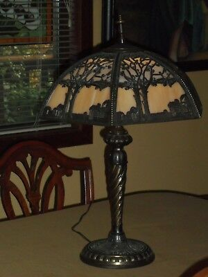 Antique Arts & Crafts  table Lamp.Stained Glass & metal & Slag Glass.