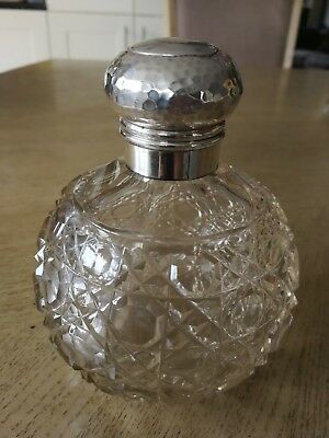 Beautiful Large Sterling Silver Topped and Cut  Crystal Perfume Bottle