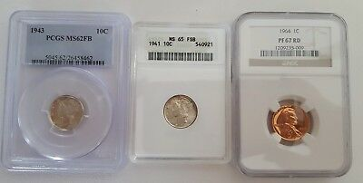 Lot of 3 Certified Coins 2 Mercury Dimes and 1 Penny