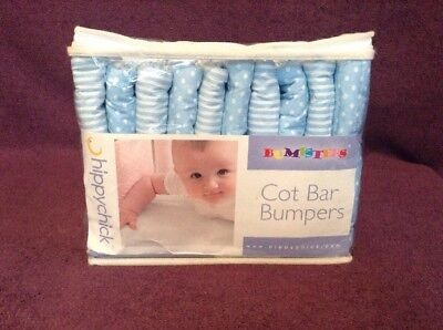 Hippychick Bumpsters X10 Large Blue baby Cot / Crib Bar Bumpers