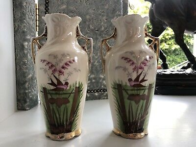 Pair of Vases, Art Deco Inspired, Hand Painted, Perching Bird near Orchid