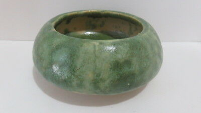 Vintage Stoneware Arts and Crafts Raised Low Bulb Green & Blue Spot Drip Planter