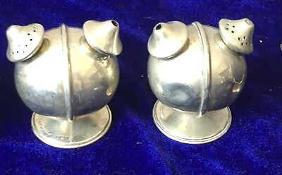 Pair of antique unusual silver plate salt and pepper pots