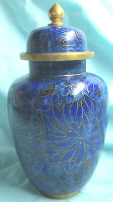 "8"" High Blue Intricate Chinese Cloisonne Ginger Jar With Top"